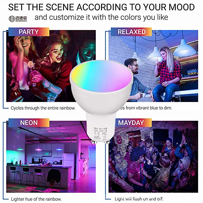GU10 WiFi Smart Lights Bulb 22 LEDs Lamp Bombillas RGBW 5W Lampada APP Remote Dimmable Work with Alexa Google IFTTT - - Amazon.com