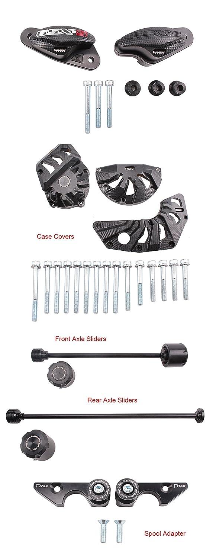 T-Rex Racing 2015-2019 Suzuki GSX-S750 No Cut Frame Front /& Rear Axle Sliders Case cover Spools