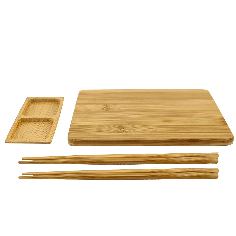 BambooMN Reusable Bamboo Sushi Serving Board Set - 1 Sushi Board, 2 Sets of Chopsticks, 1 Sushi Dipping Tray 6955114961331a