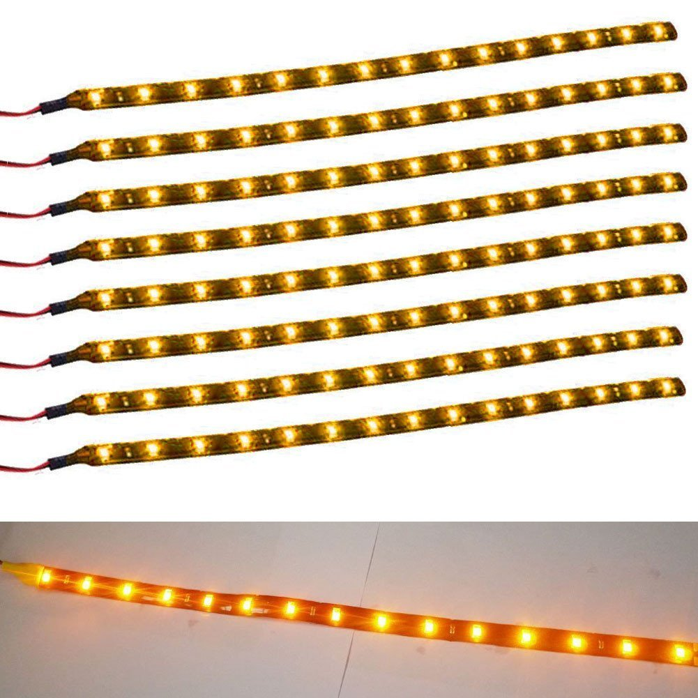 SAUTOP - 8 Tiras Flexibles de 30 cm, 15 LED, Impermeables, para Coche, camió n, Barco, 12 V camión