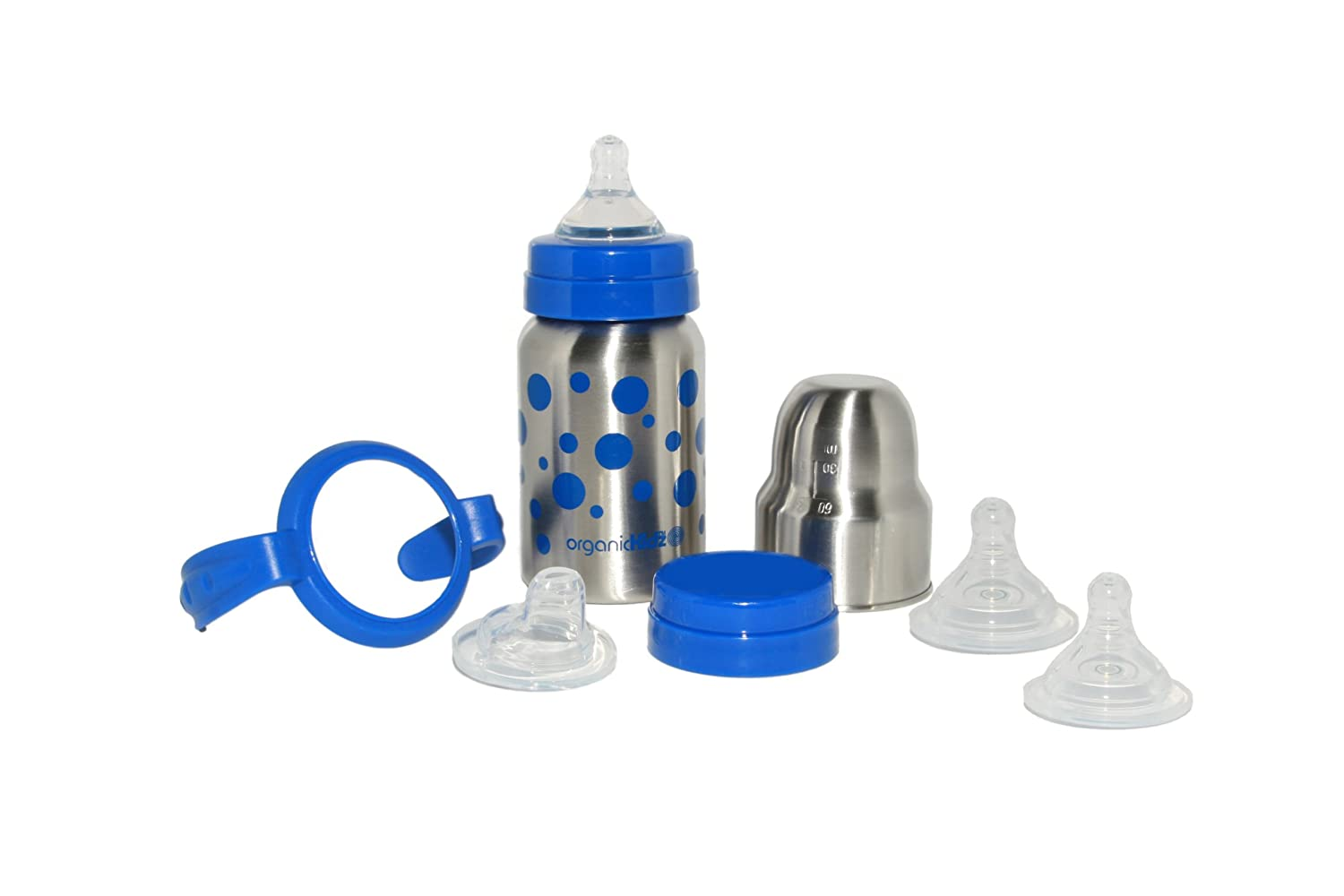 organicKidz Baby Grows Up All in One Stainless Steel Baby Bottle, Sippy Cup, Water Bottle 724