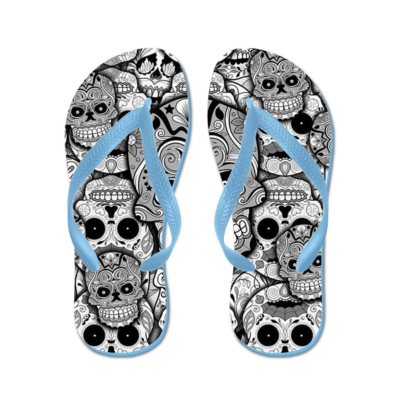 Sugar Skull Teal - Flip Flops Funny Thong Sandals Beach Sandals