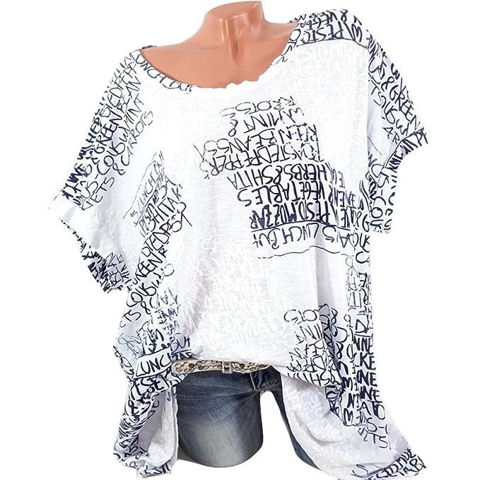 Lenfesh Blusa de Manga Corta de Moda para Mujer Atractivas Blusa con Estampado de Letras tee