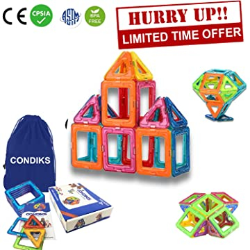 CONDIKS Magnetic Blocks 30Pcs Magnetic Building Blocks Set, Magnetic Tiles, Magnetic Toys Magnets for Kids or Toddlers, STEM Educational Construction Toys for Kids Girls Boys Age 2 3 4 5 6 7 Year Old