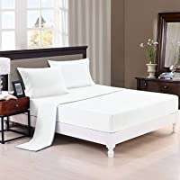 Trance Home Linen 100% Cotton 400TC Fitted Bedsheet with Pillow Covers