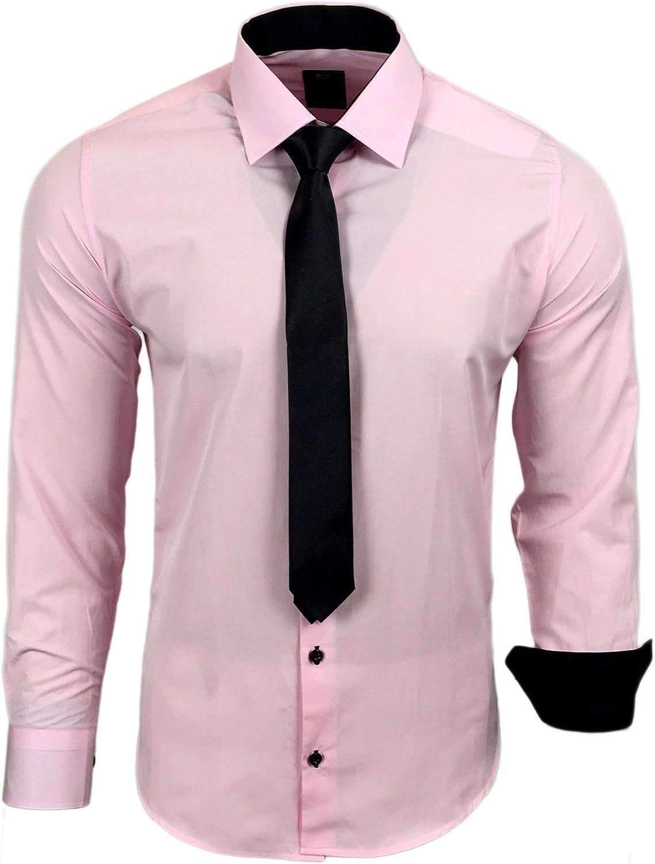 Camisa de la marca Rusty Neal R-44-KR, con corbata. Ideal para negocios, bodas y tiempo libre. Ajustada Rosa XXL