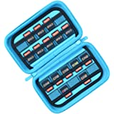 Game Card Storage Holder Case for Nintendo Switch Cartridges or SD Memory Card- Holds 40 Games - Black/ Light Blue