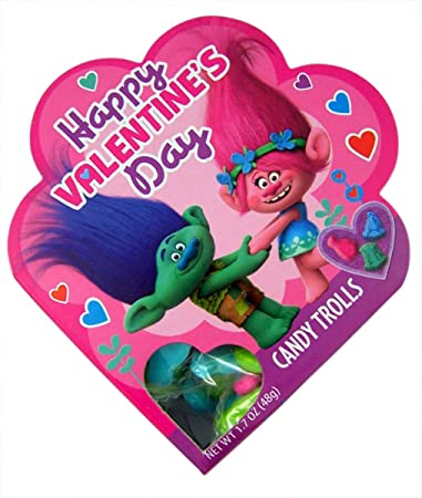 Amazon.com : Dreamworks Trolls Valentines Day Heart Gift Box with ...