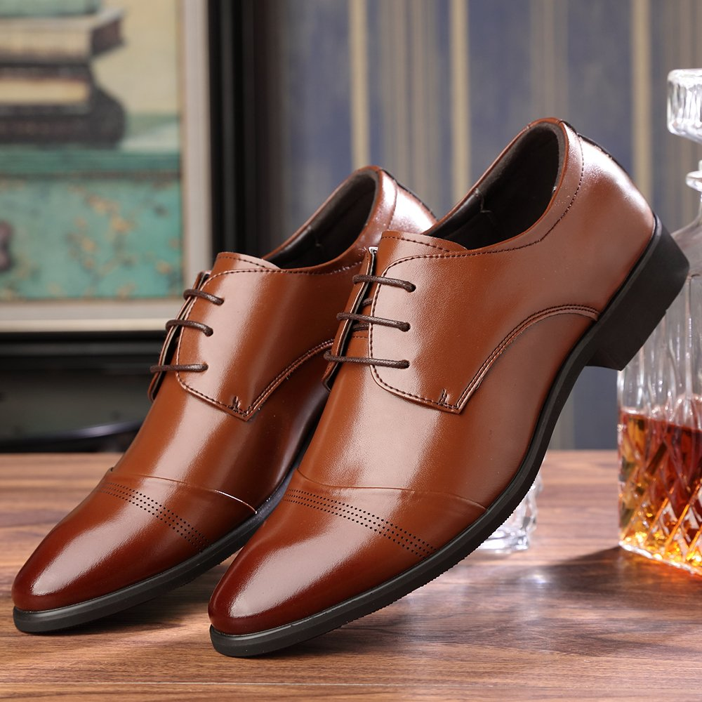 OUOUVALLEY Lace up Patent Leather Oxford Dress Shoes Formal Wedding Shoes 8808 (10 D(M) US, Brown) by OUOUVALLEY (Image #6)