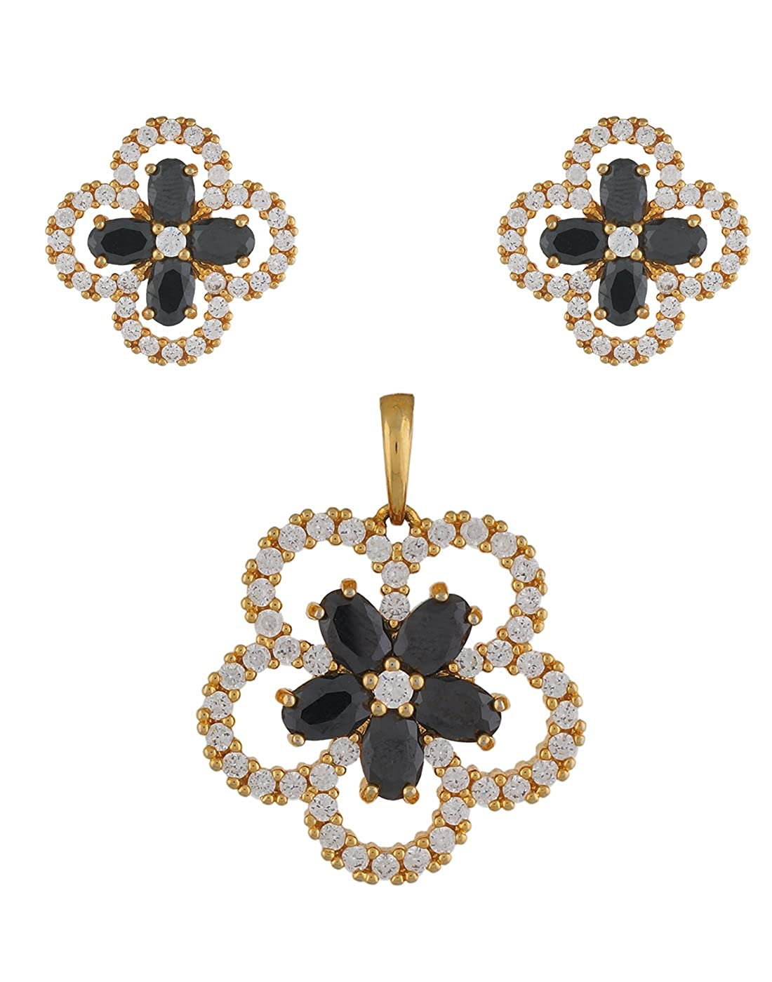 954eb8bf3 Buy VAMA FASHIONS Black Colour Gold Plated Cubic Zirconia (CZ) Pendent  Earring Jewellery Set + Free Chain - online shopping for Jewellery Online at  Low ...