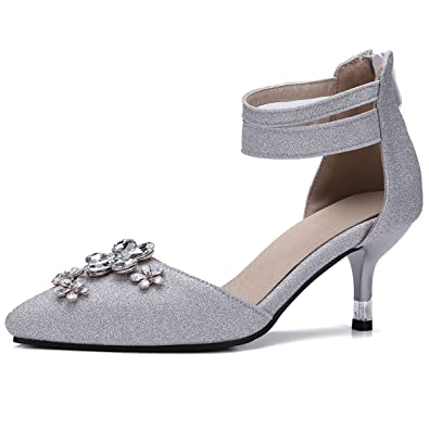 4087124e637 DecoStain Women s Ankle Strap Sequin Glitter Mid Heel Sandals Pointed Toe  Floral Decoration Pumps Court Party Dress Shoes  Amazon.co.uk  Shoes   Bags