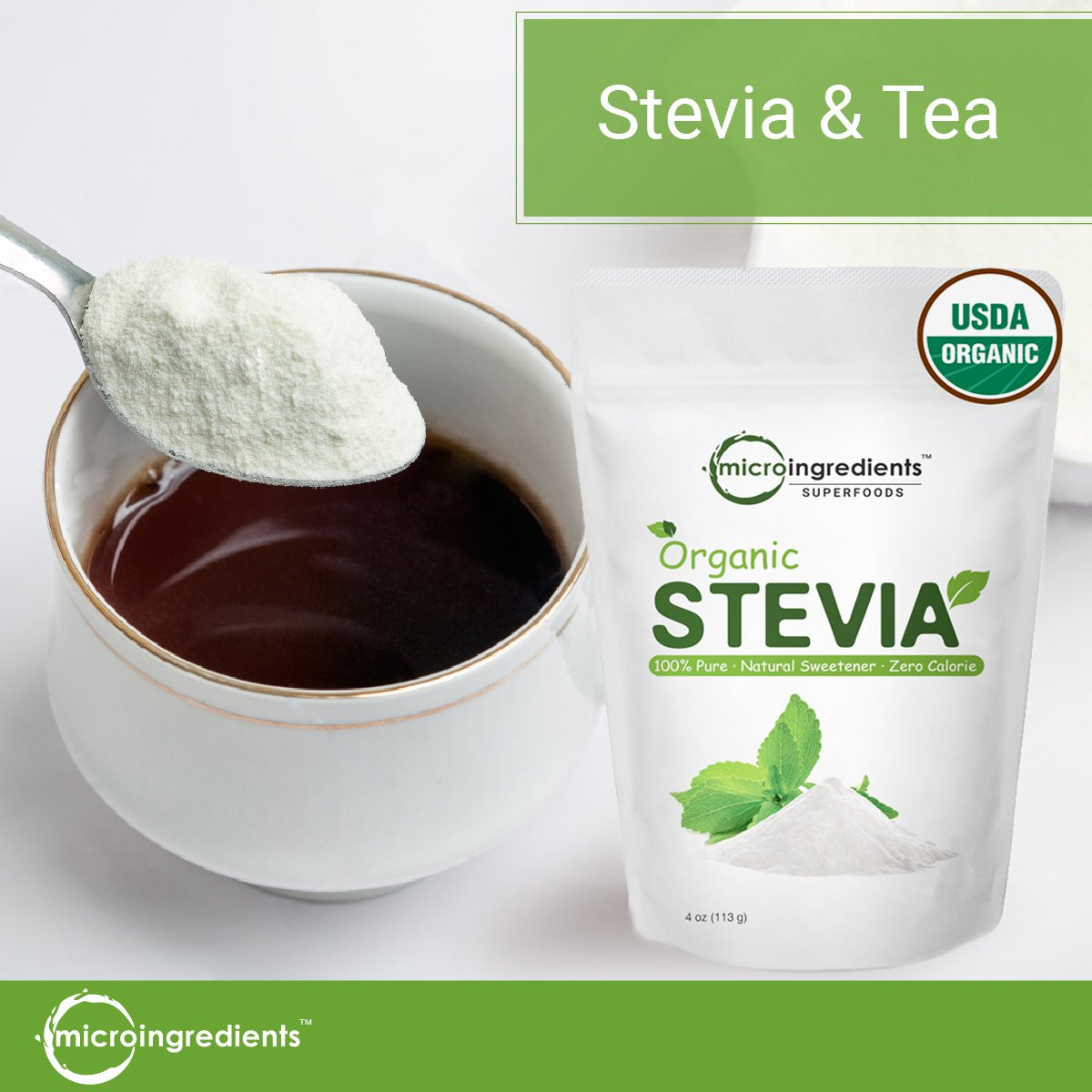 Pure Organic Stevia Powder, 8 Ounce, 1418 Serving, 0 Calorie, Natural Sweetener and Sugar Alternative, No GMOs and Vegan Friendly by Micro Ingredients (Image #5)