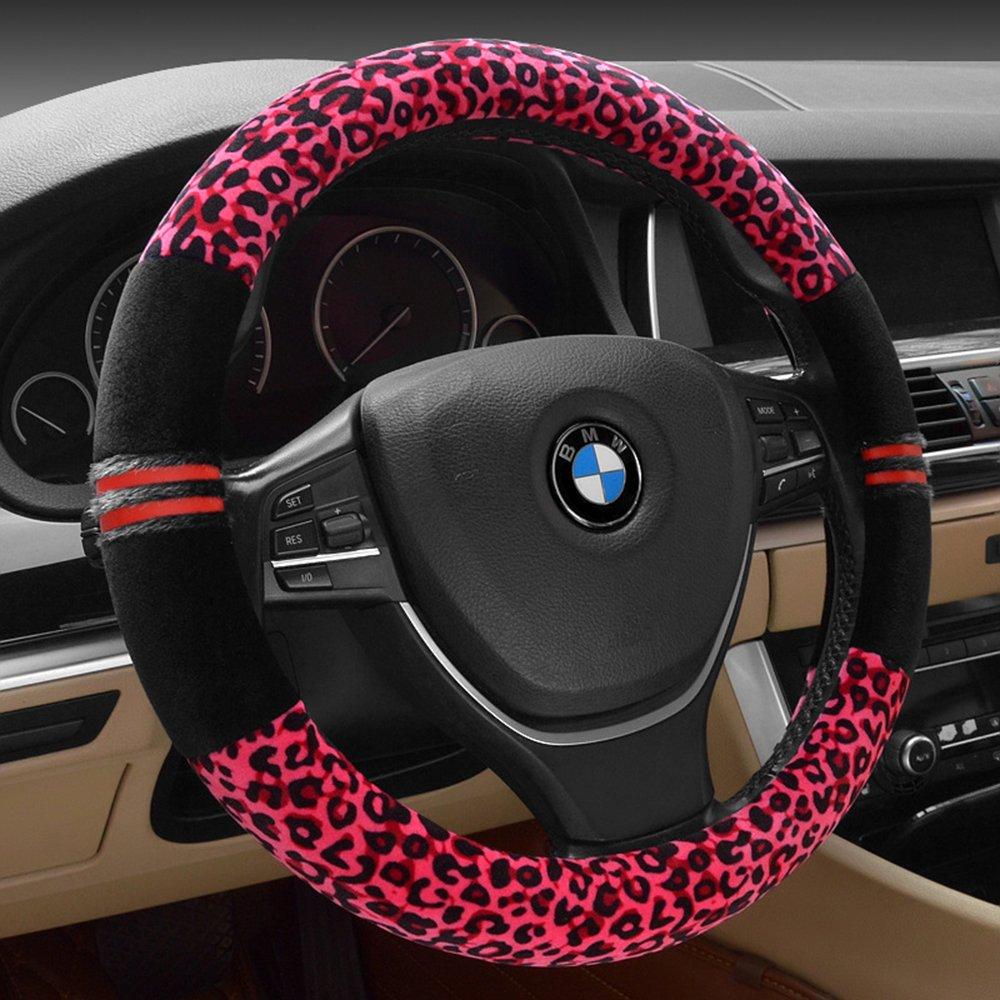 FULL WERK Luxury Leopard Print Fashionable Plush Car Steering Wheel Cover, Universal Fit, Keep Warm for Car SUV (Beige+Black)