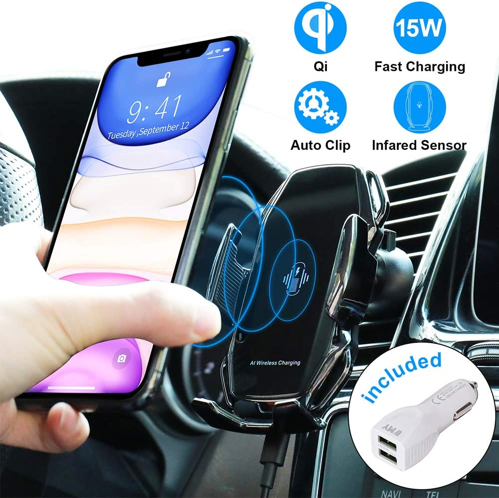 MiaodaM 360/° Swivel Smart Sensor Auto Clamping Qi Wireless Car Charger,Automatic Phone Holder Fast Charging Car Mount Compatible for 4 to 6.5 Cell Phone iPhone Samsung Other Qi-Enabled Devices