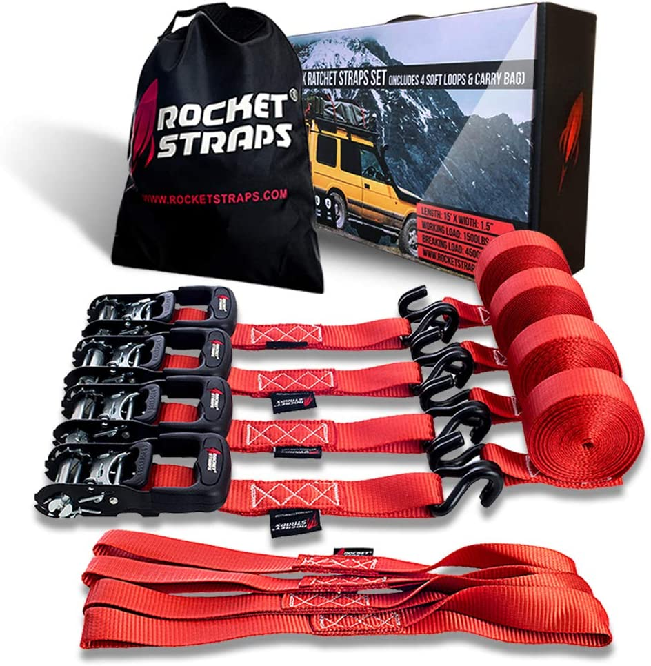 "Rocket Straps - Heavy Duty Ratchet Straps | 1.5"" x 15' - 4500lbs Break Strength Ratchet Tie Down Straps 