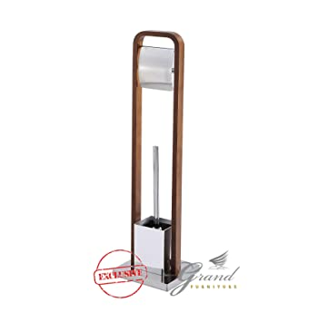 Sydney Modern Wooden Toilet Roll Holder And Brush Stand Floor Standing Bathroom  Accessories 2 In 1