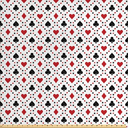Swag Holiday Card (Casino Decorations Fabric by the Yard by Ambesonne, Poker Cards Advertising holidays Getaways Tourist Destinations Pleasure, Decorative Fabric for Upholstery and Home Accents)