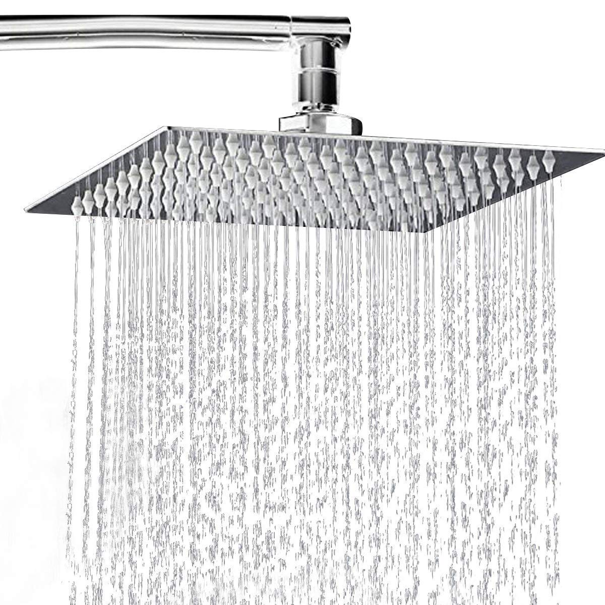 6 Inch Stainless Steel Ultra-thin Waterfall Shower Heads Square High Pressure Rainfall Shower Head Rain Showerheads Home Improvement silver
