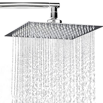 Rainfall Shower Head 8 Inch Solid Stainless Steel Square Rain