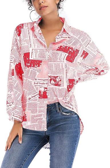 Camisa con Estampado de periódicos de Moda para Mujer Blusa ...