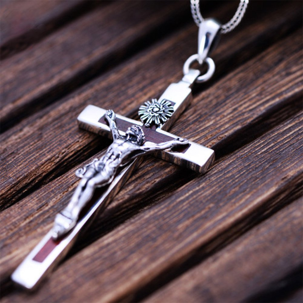 Jade Angel Womens and Mens Gothic Style 925 Silver Cross Pendant Necklace with Sandalwood