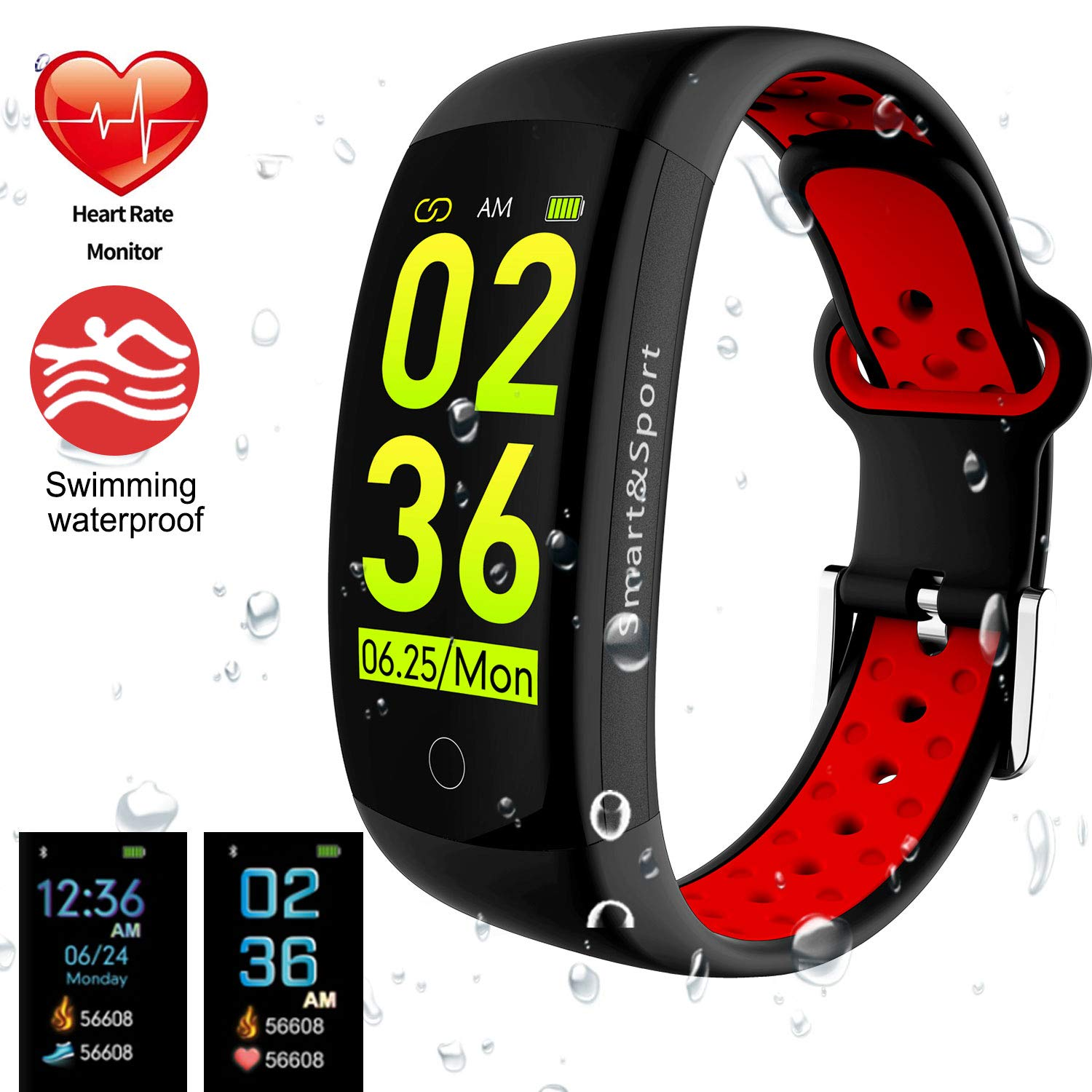 Black+Red feifuns Fitness Tracker Watch, Smart Bracelet IP68 Waterproof Swim Watch Activity Tracker with Heart Rate Monitor Step Calories Counter Sleep Pedometer Watch for Men Women Kids Android iOS