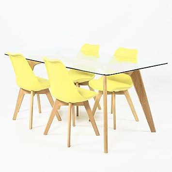 Charles Jacobs 1,2 m Esstisch mit Vier Stühlen Set Massivholz Beine ...