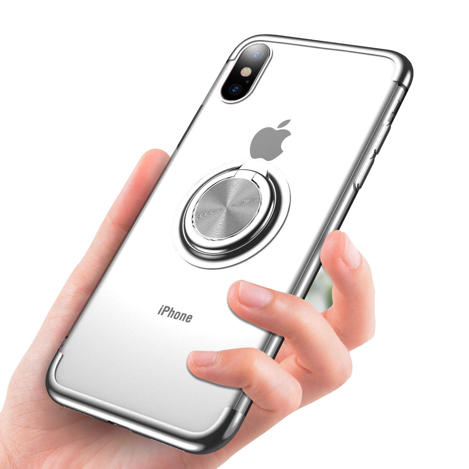 iPhone Xs Max Case, Ring Holder Plating Magnetic Soft TPU Clear Hybrid Case for iPhone Xs Max (Silver) by Seabaras