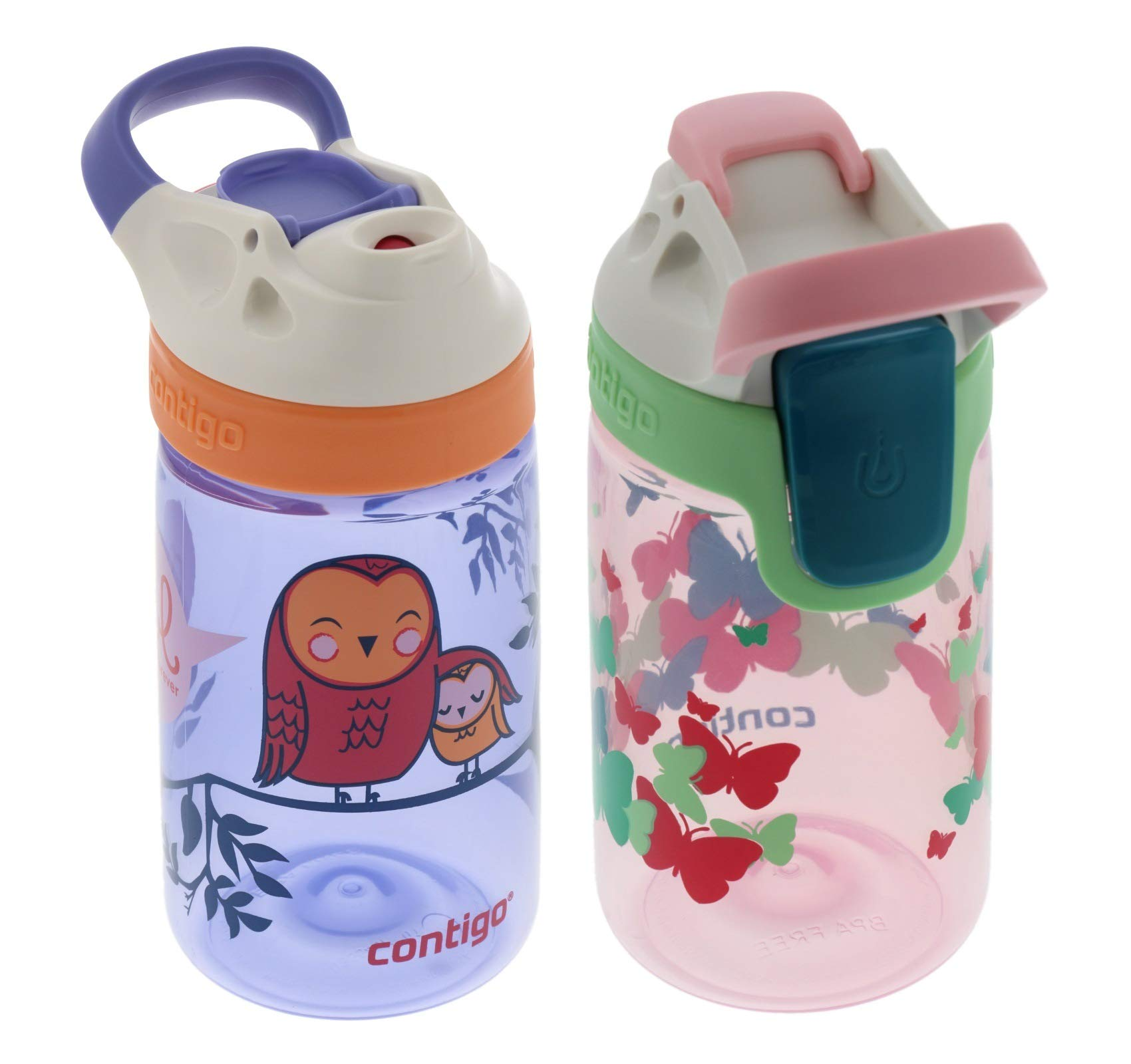 Contigo 14oz Kids Autoseal Gizmo Sip Water Bottles, Ballet & Love (2 Pack) - Perfect for Children & Parents on the Go