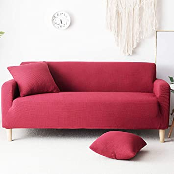 Amazon.com: Plush Solid Color Sofa Cover with Cushion Covers ...