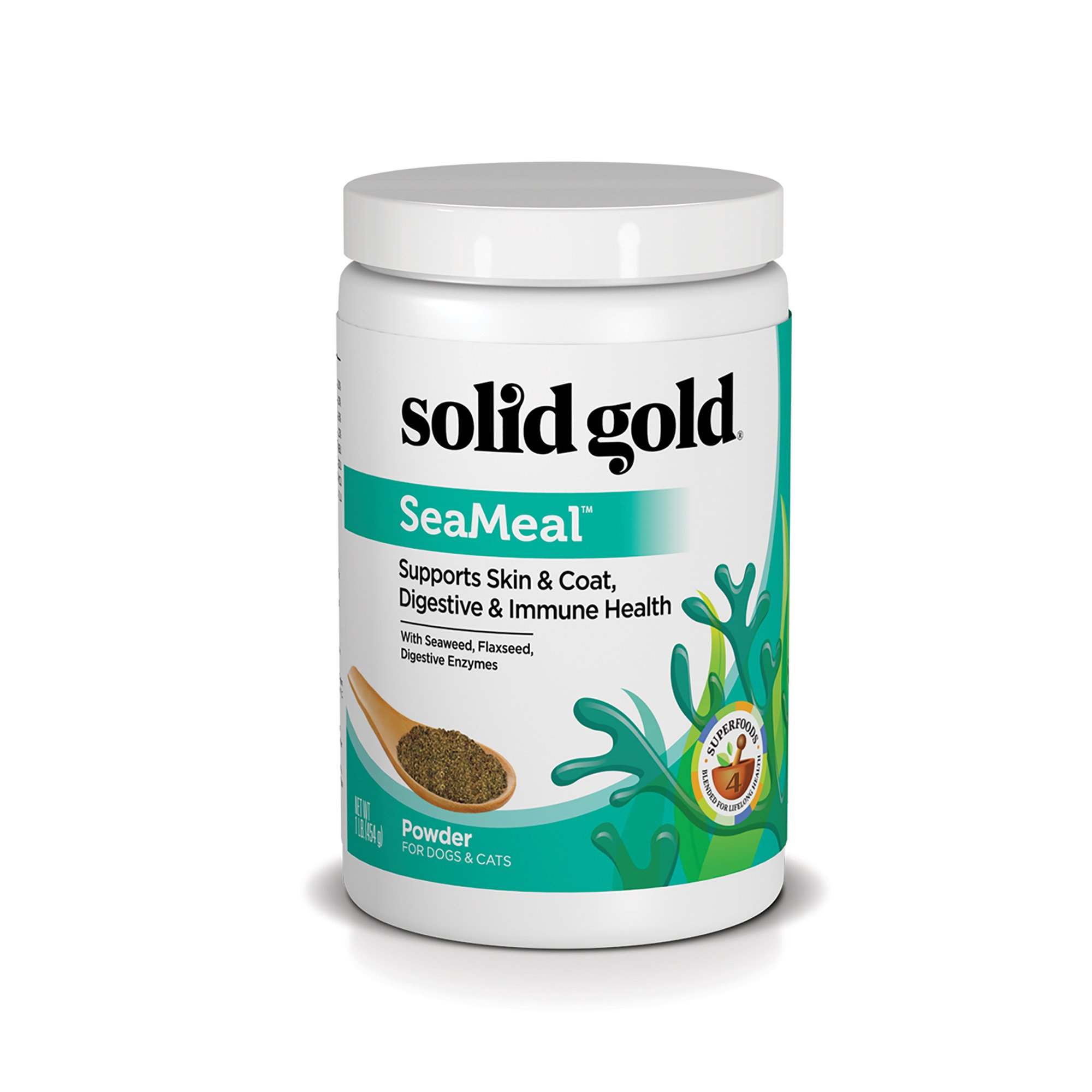 Solid Gold Skin & Coat, Digestive & Immune Health Dog & Cat Supplement; SeaMeal, Natural, Holistic Grain-Free Kelp-Based Chews and Powder Supplement