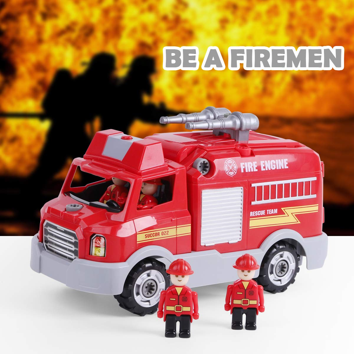 REMOKING STEM Learning Take Apart Toy for Boys & Girls, Build Your Own Car Toy Fire Truck Educational Playset with Tools and Power Drill, DIY Assembly Car with Realistic Sounds & Lights (3+ Ages) by REMOKING (Image #5)