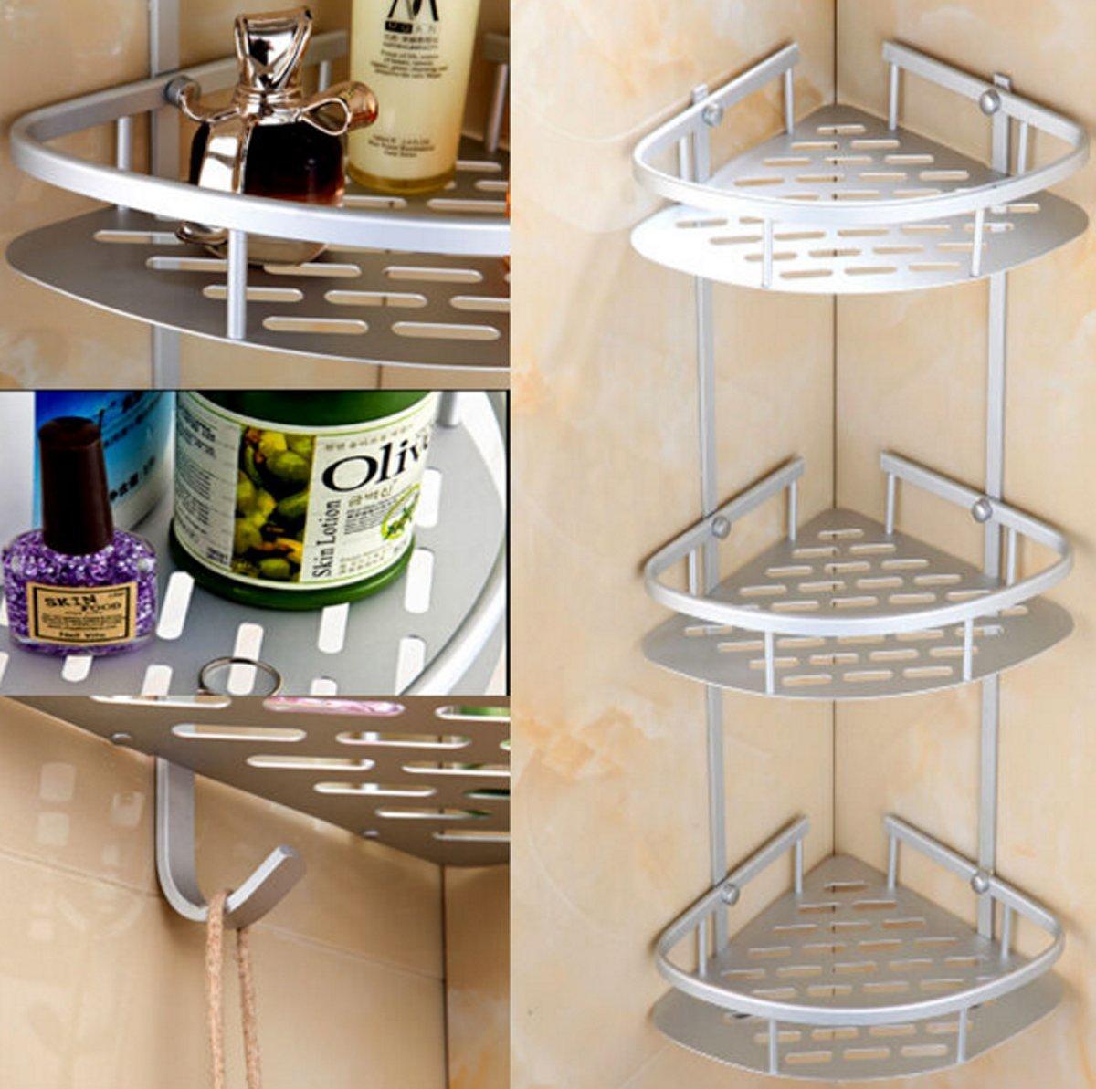 3 Tier Aluminum Bathroom Corner Shelves, Large Capacity Shower Shelf Rack Organiser with Hooks Yosoo