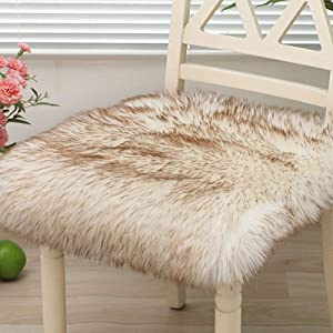 TEALP Faux Fur Seat Pad, Home Decor Square Sheepskin Rug for Room, Soft Fluffy Chair Cover for Office, White Coffee