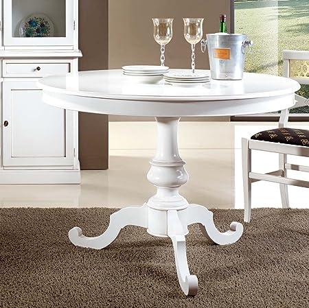 Tavolo Rotondo Bianco Usato.Bagno Italia Tavolo Rotondo Bianco Opaco Diametro 100 O 120 Cm Disponibile Anche Con Sedie I Amazon It Casa E Cucina