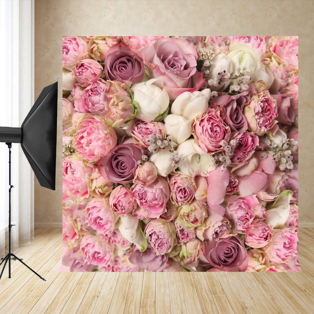 10x10ft Pink Rose Floral Wedding Backdrop Bridal Shower Background Birthday Party Decoration Photo Booth Props D-8059