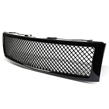 For Chevy Silverado 1500 GMT900 ABS Plastic Mesh Style Front Upper Grille  (Glossy Black)