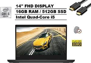 "2020 Lenovo ThinkPad E14 14"" FHD Full HD 1080p IPS Business Laptop (Intel Quad-Core i5-10210U, 16GB DDR4 RAM, 512GB PCIe M.2 SSD) Type-C, Webcam, Fingerprint, Windows 10 Pro + IST Computers HDMI Cable"