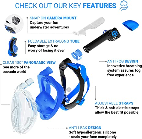 Fast Drying Microfiber Towel 180/° Panoramic View Scuba Mask Anti Fog and Anti Leak Snorkeling Gear with Camera Mount Safe Breathing System for Longer Diving cozia design Full Face Snorkel Mask