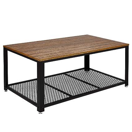 Meerveil Table Basse Industrielle Table de Salon Style Vintage, Industriel,  Veinure du Bois et Armature de Métal, pour Salon, Cuisin, Chambre, 106 x