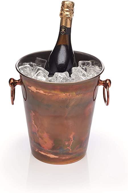 Silver Metal Champagne Prosecco Ice Bucket Vintage Side Table Hanging Wine