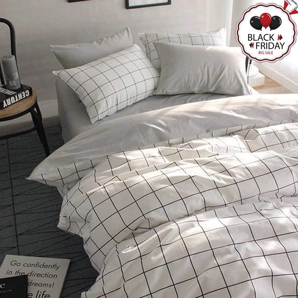 VCLIFE Twin Duvet Cover Set Cotton Bedding Set for Boy Teen Men Girl Woman with 2 Pillow Shams Grey White Checkered Style