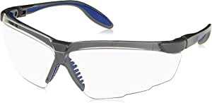 Uvex S3500 Genesis X2 Safety Eyewear, Silver and Navy Frame, Clear Ultra-Dura Hardcoat Lens