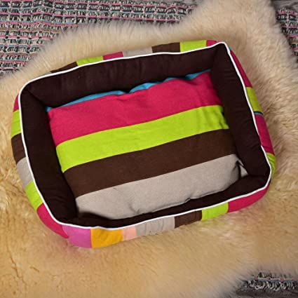 Kaxima Manta para Mascotas Paño de Oxford Mat Grande Colorida Banda camada Perro criadero Gato Basura