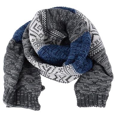 AONER Tricot Echarpe Châle Longue à Rayures Vanisage Hiver Bleu pour Homme  Femme Unisexe (Echarpe a2d7b4e7f92