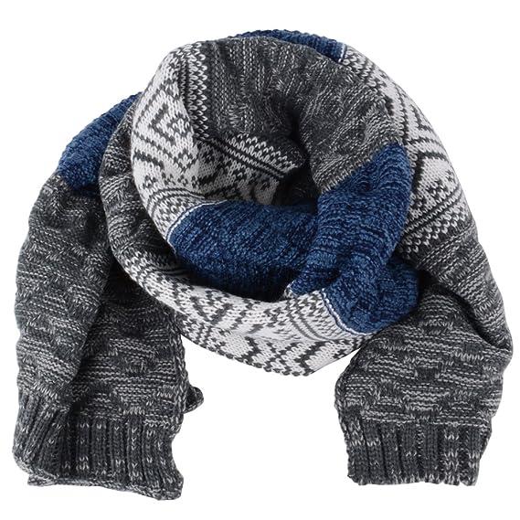 Boutique en ligne 34765 c041f Bufanda Hombre Mujer Invierno de Punto Moda Larga Grande de Cuello Unisex  (Azul y gris)