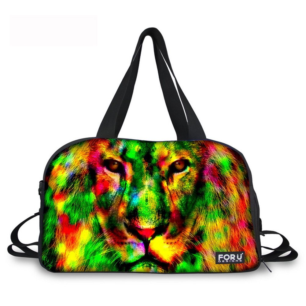 Travel Bag Weekender Overnight Carry On Shoulder Duffel Tote Bag Gym Sports Bags Rainbow Colorful Cool Lion Animal Printed Bag with Shoes Pocket for Men and Women C001 ONE SIZE