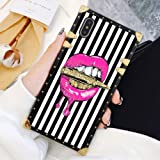 Square Case Compatible iPhone Xs Max Pink Lips in Bullet Luxury Elegant Soft TPU Full Body Shockproof Protective Case Metal Decoration Corner Back Cover iPhone Xs Max Case 6.5 Inch