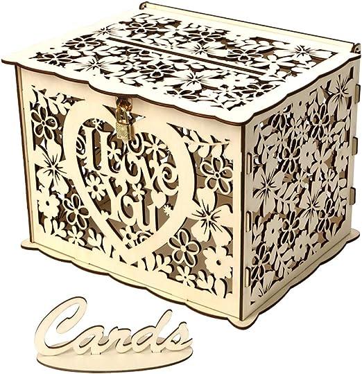 Festnight Caja de Tarjeta de Boda con Cerradura Caja de Regalo de Madera rústica Titular de la Tarjeta para la Fiesta de Bienvenida del Aniversario de Boda: Amazon.es: Hogar