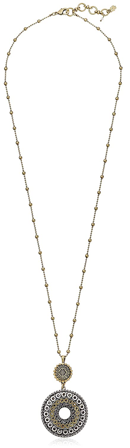 """Lucky Brand Two Tone Tribal Pendant Necklace, 30"""" + 1.5"""" Extender"""
